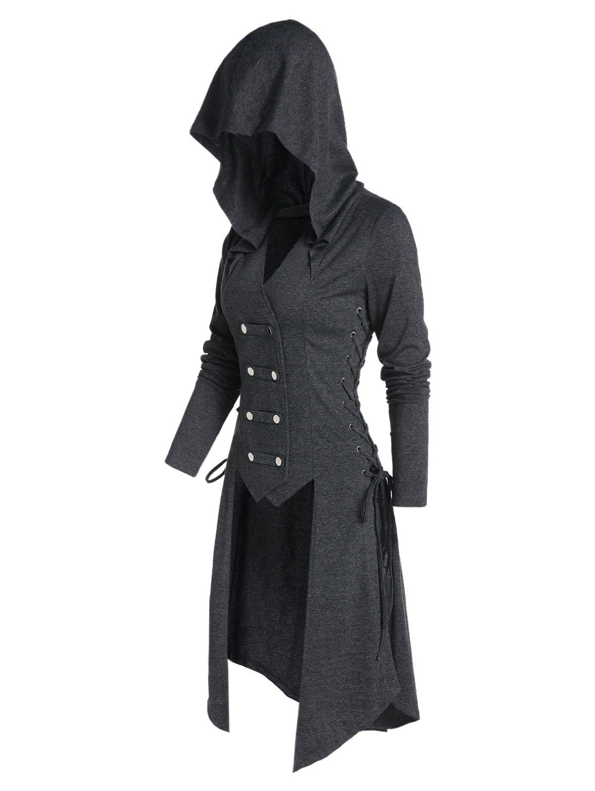 Hooded Lace-up Button Up High Low Steampunk Coat - CARBON GRAY 3XL