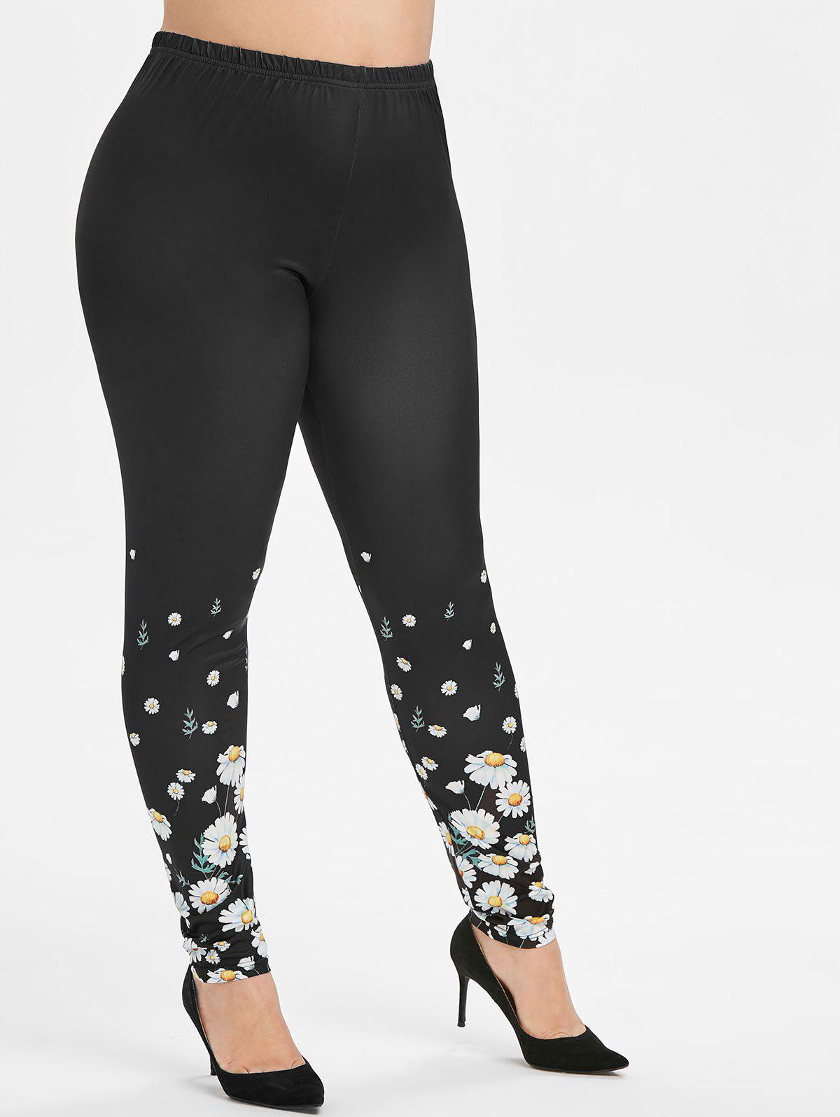 Plus Size Floral Print High Rise Skinny Leggings - BLACK 5X
