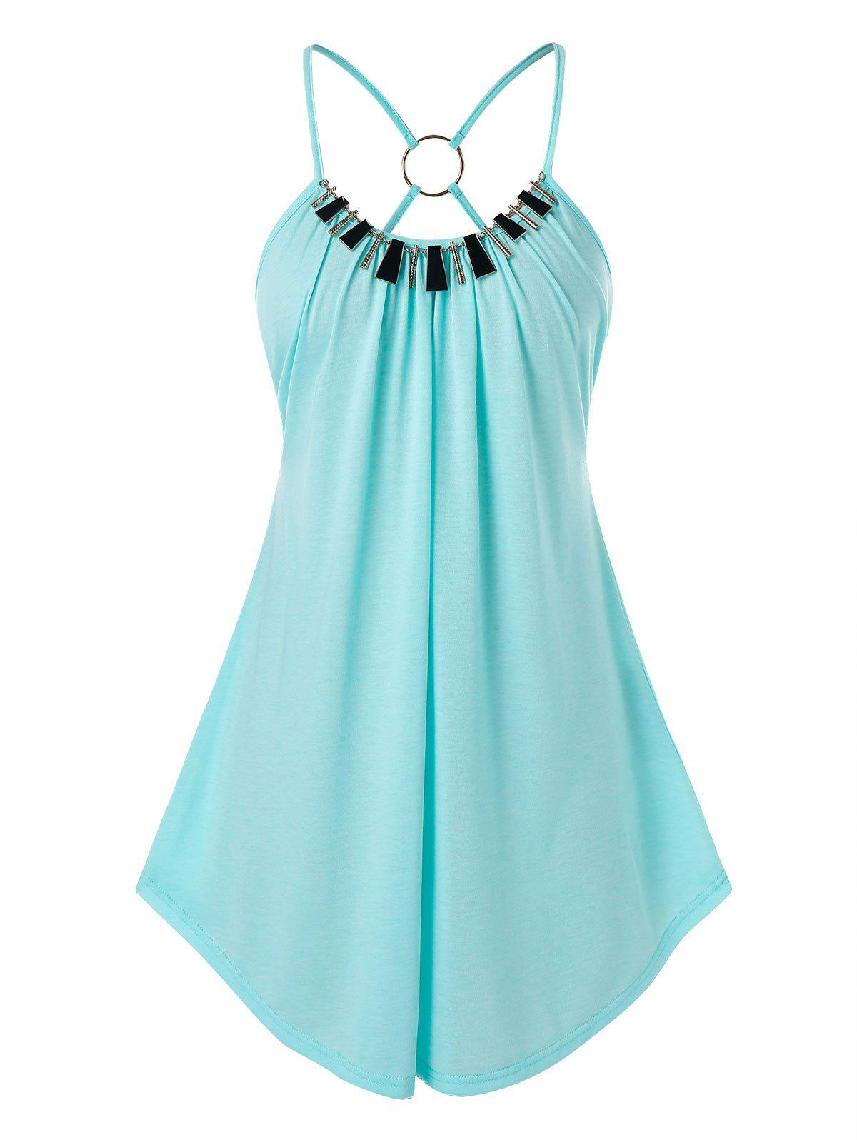 Plus Size O Ring Strappy Swing Tank Top - LIGHT AQUAMARINE 3X