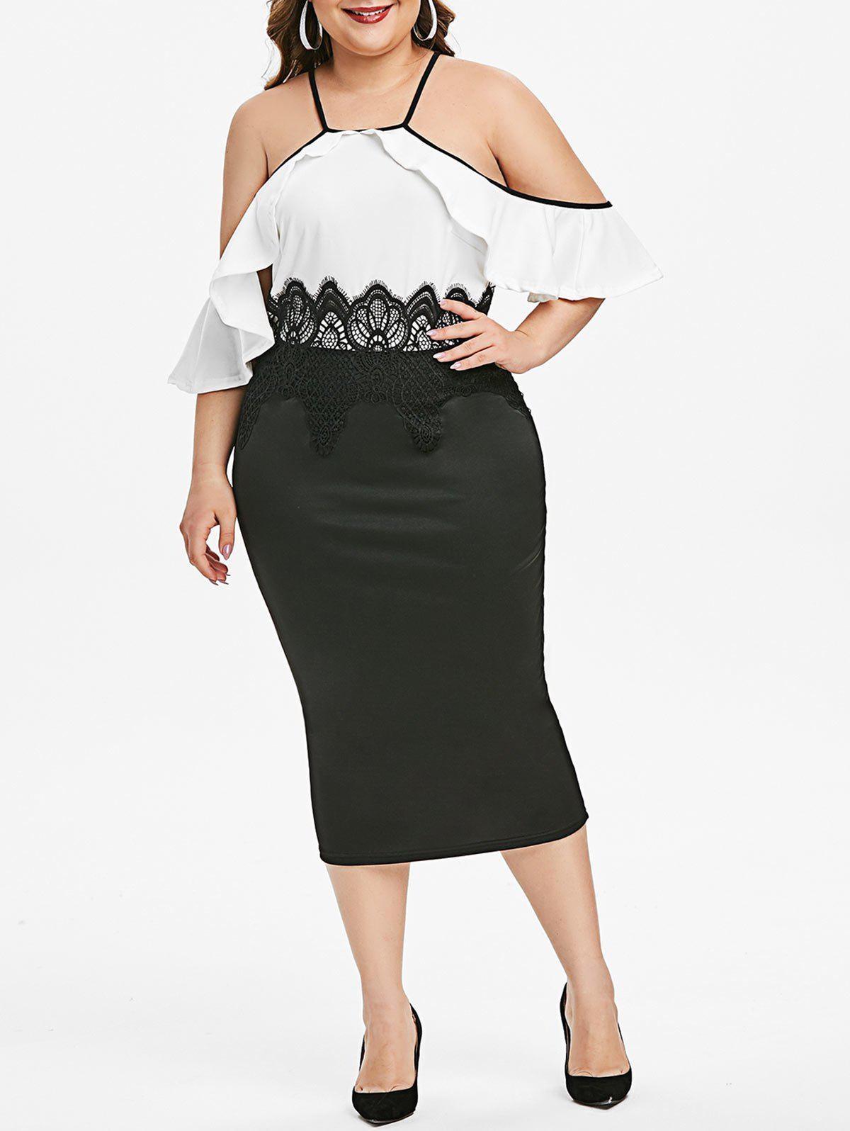 Plus Size Colorblock Guipure Insert Open Shoulder Dress - BLACK 1X