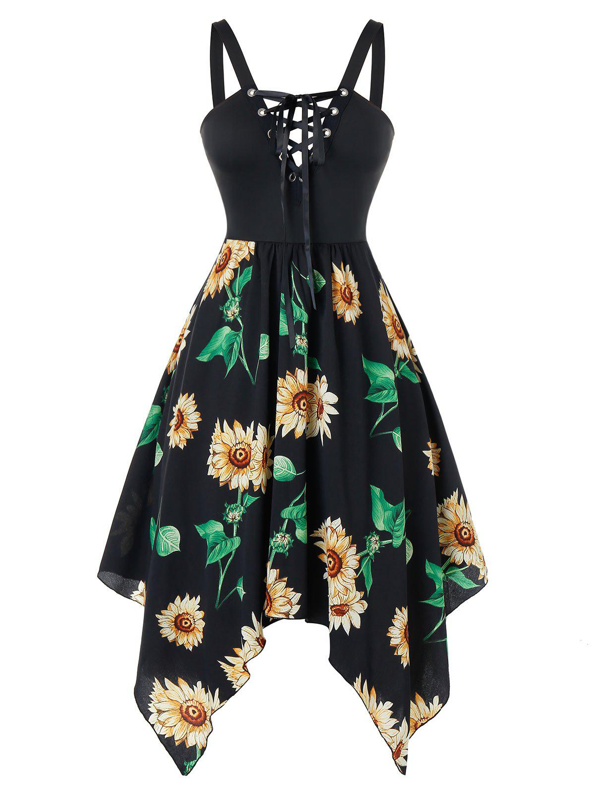 Plus Size Asymmetric Handkerchief Sunflower Lace Up Dress - BLACK 3X