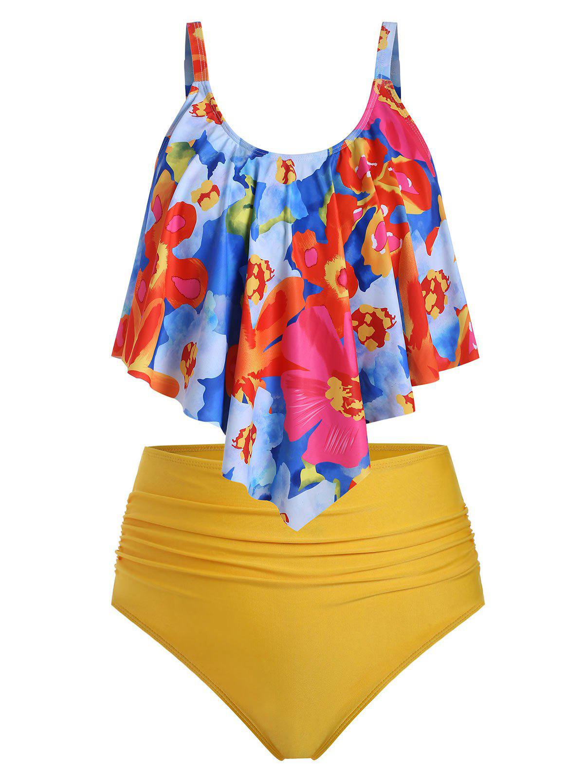 Plus Size Floral Print Overlay Ruched Tankini Swimsuit - YELLOW 1X