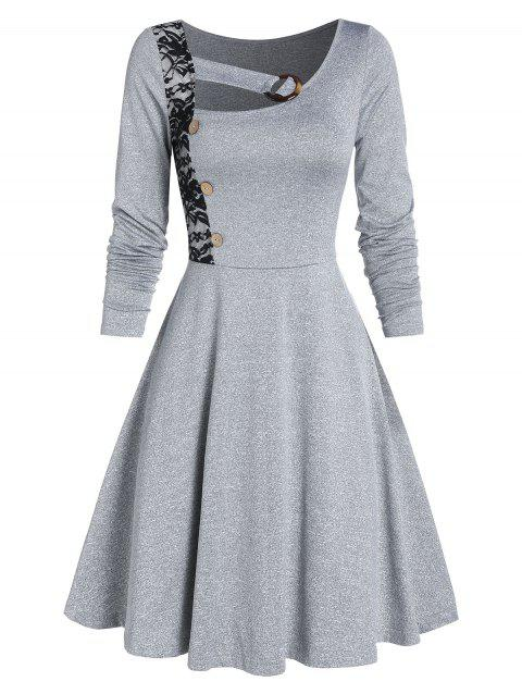 Mock Button Lace Insert Marled Flare Dress