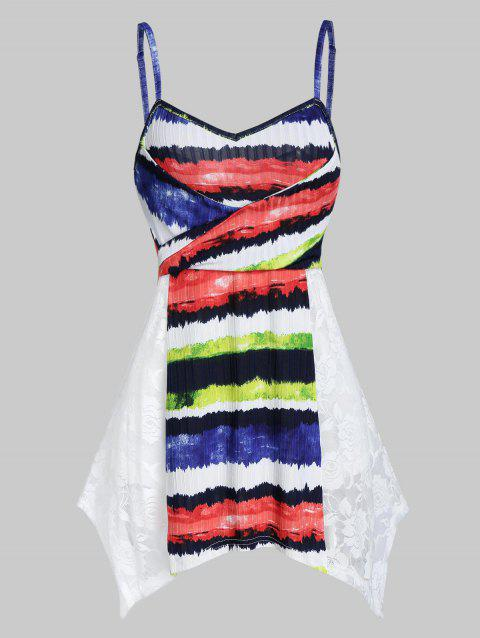 Colorful Striped Print Lace Insert Handkerchief Cami Top