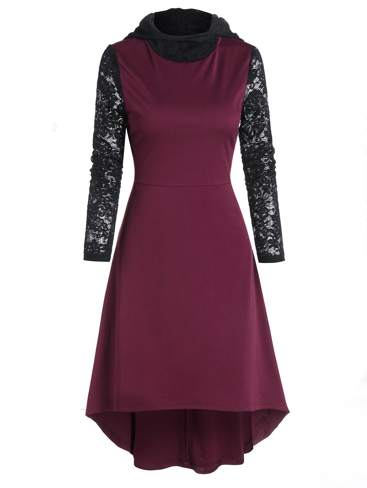 Hooded Lace Sleeve High Low Midi Dress - MAROON 3XL