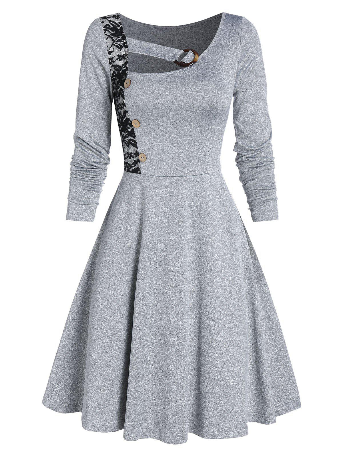 Mock Button Lace Insert Marled Flare Dress - LIGHT GRAY M
