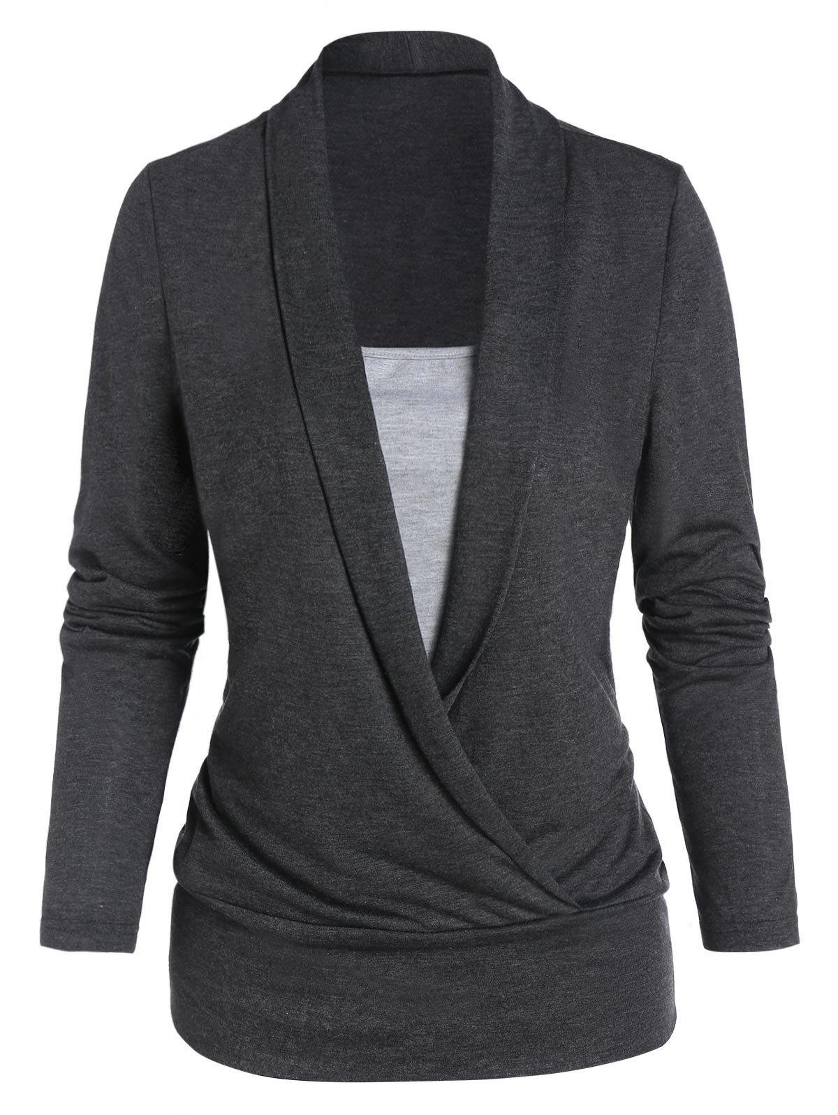 Heathered Long Sleeve Faux Twinset T-shirt - CARBON GRAY L