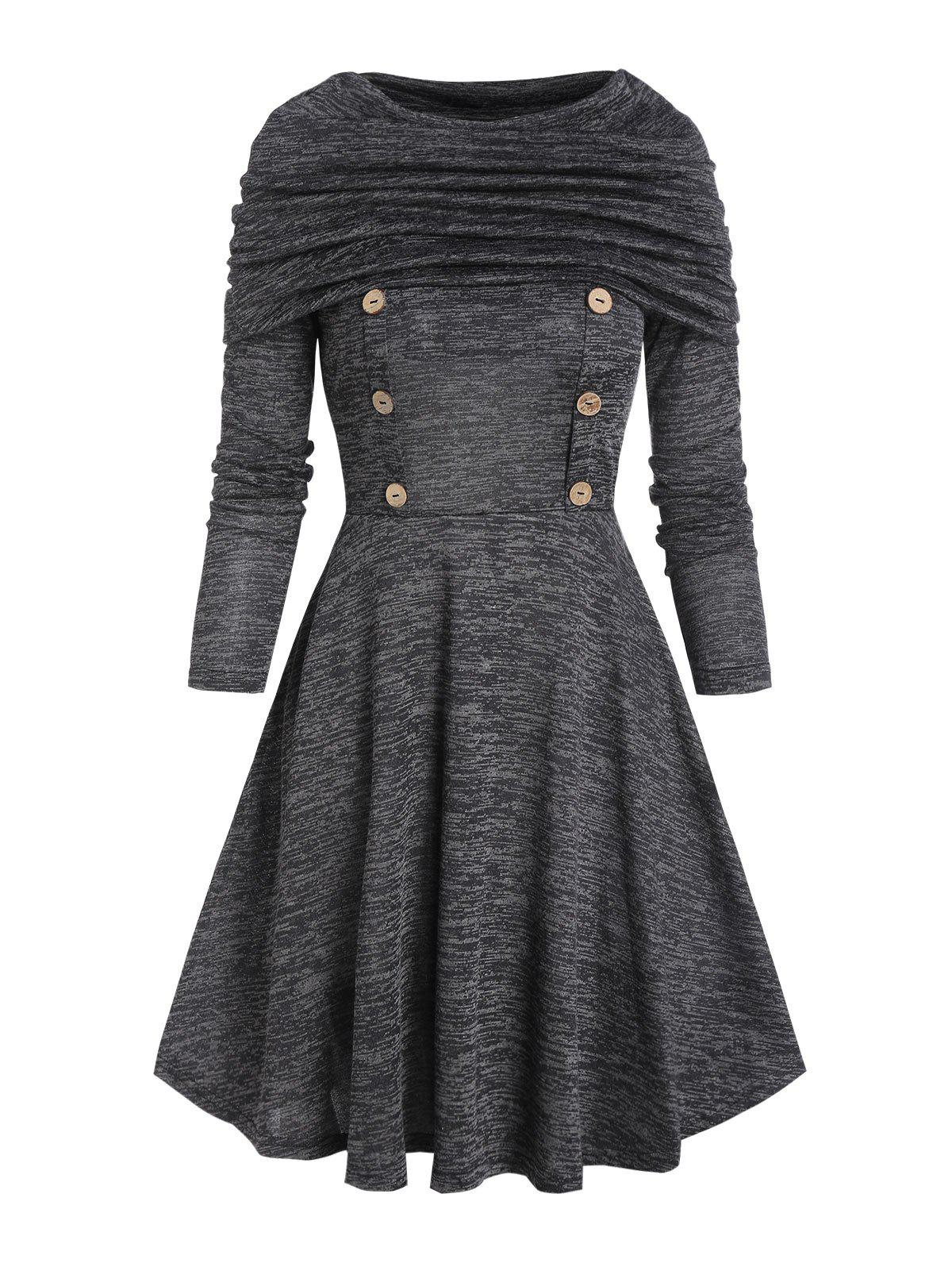 Foldover Button Mini A Line Dress - GRAY L