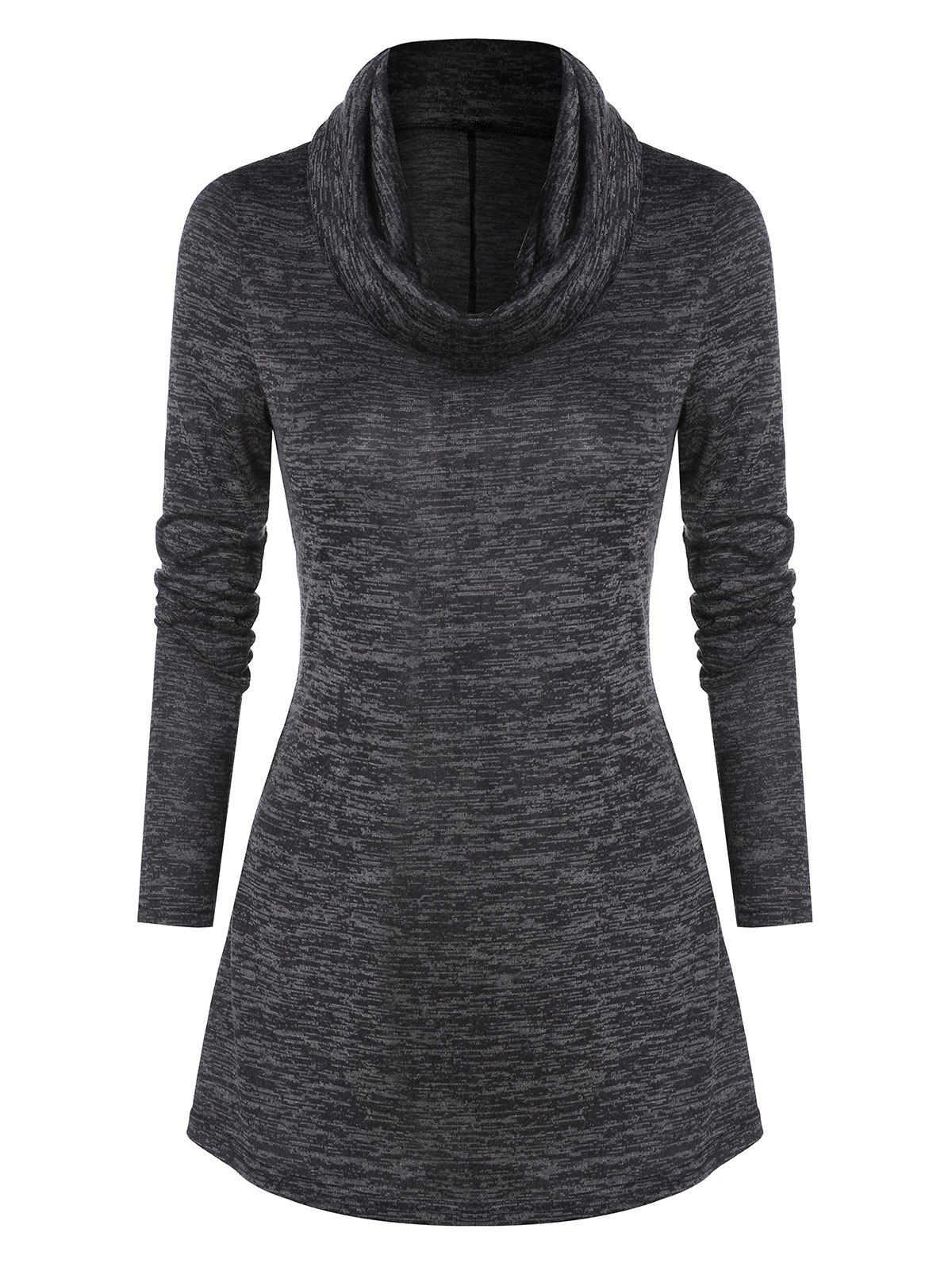 Cowl Neck Curved Hem Heathered T-shirt - CARBON GRAY M