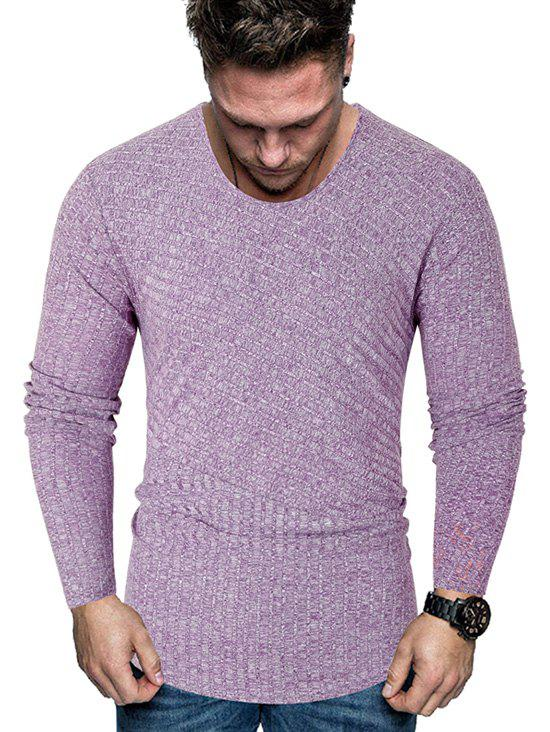 Stripe Textured Heather Long Sleeve T Shirt - PURPLE M