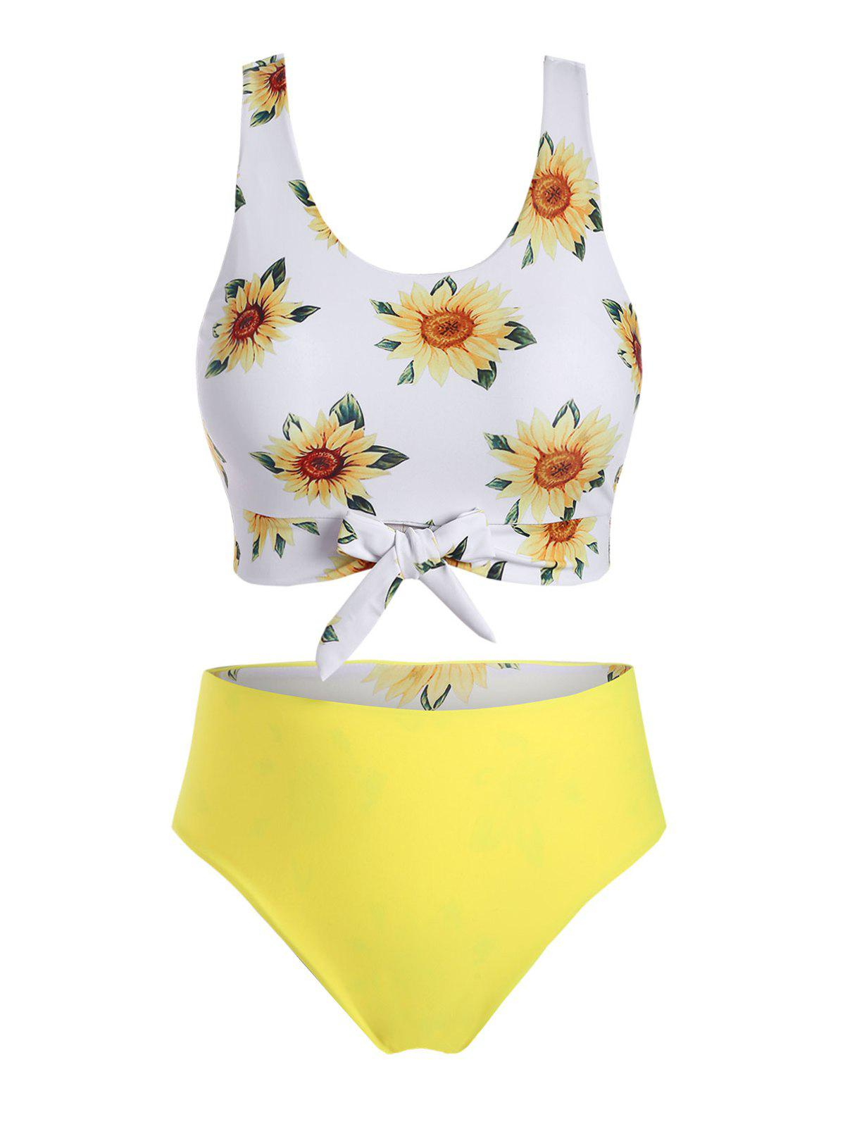Plus Size Sunflower Print Front Tie Reversible Bikini Swimsuit - YELLOW 3X