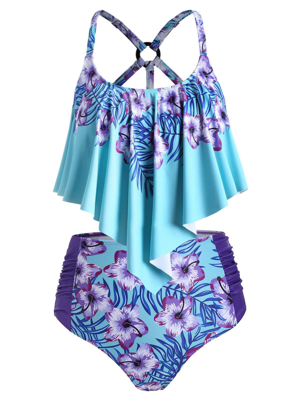 Plus Size Floral Print Overlay tankini maillot de bain - Turquoise Moyenne 3X