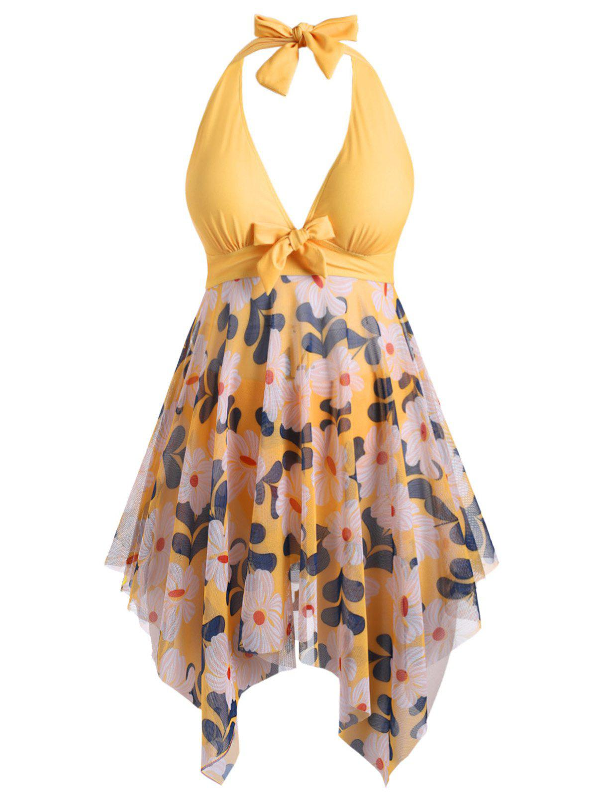 Plus Size Halter Low Cut Floral Print Handkerchief Tankini Swimsuit - YELLOW 1X
