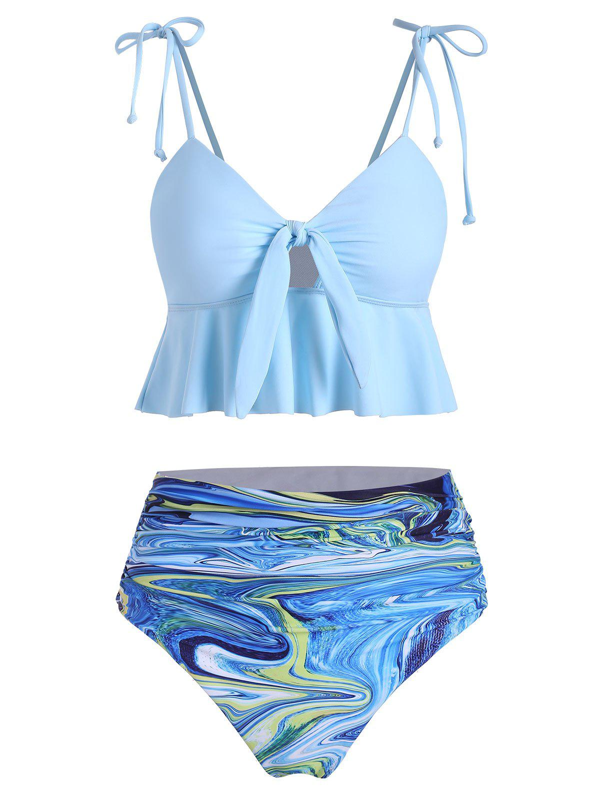 Galaxy Print Tie Ruched Peplum Tankini Swimsuit - LIGHT BLUE L
