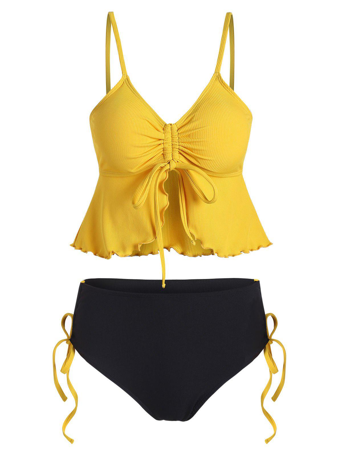 Cinched Ribbed Peplum Tankini Swimsuit - GOLDENROD 2XL