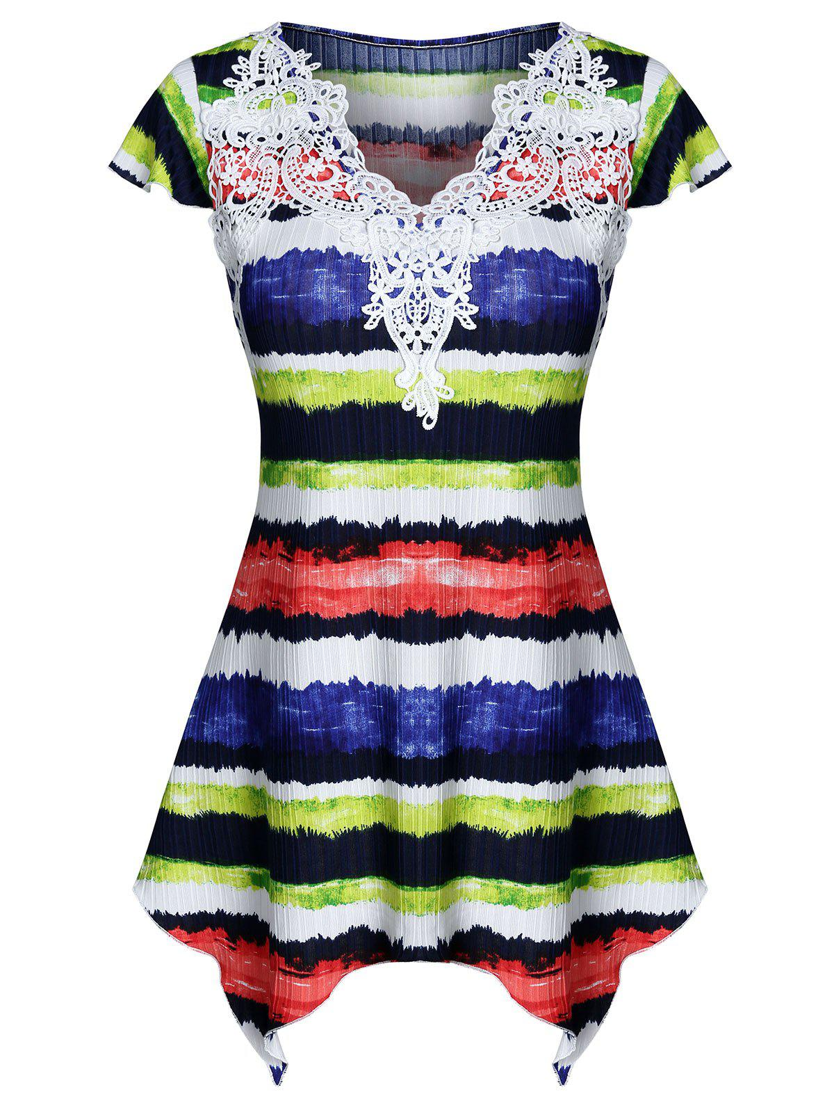 Colorful Striped Print Lace Insert T-shirt - multicolor A 3XL