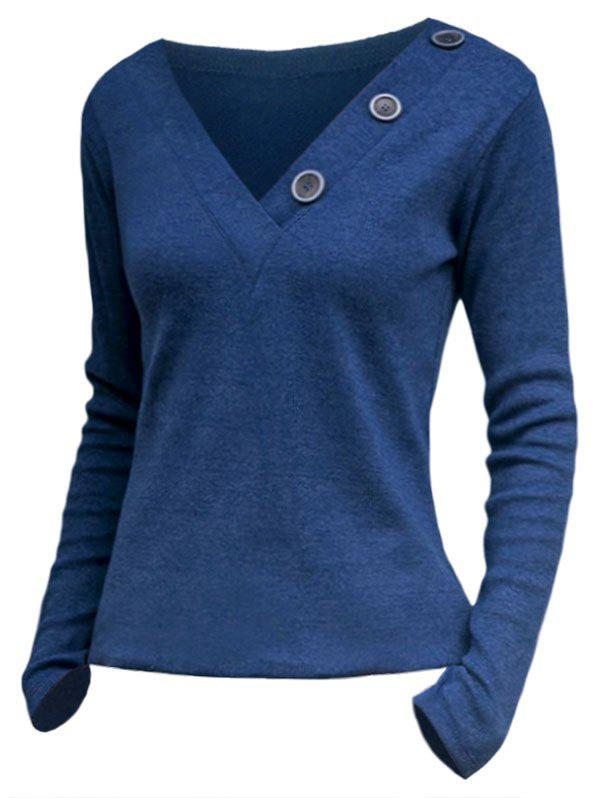 Buttons V Neck Knitwear - OCEAN BLUE XL