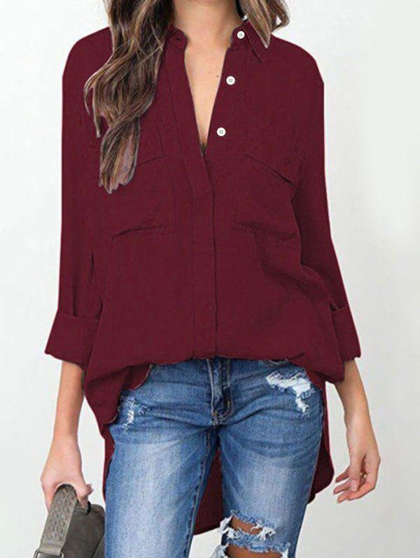 Front Pocket High Low Shirt - RED WINE M