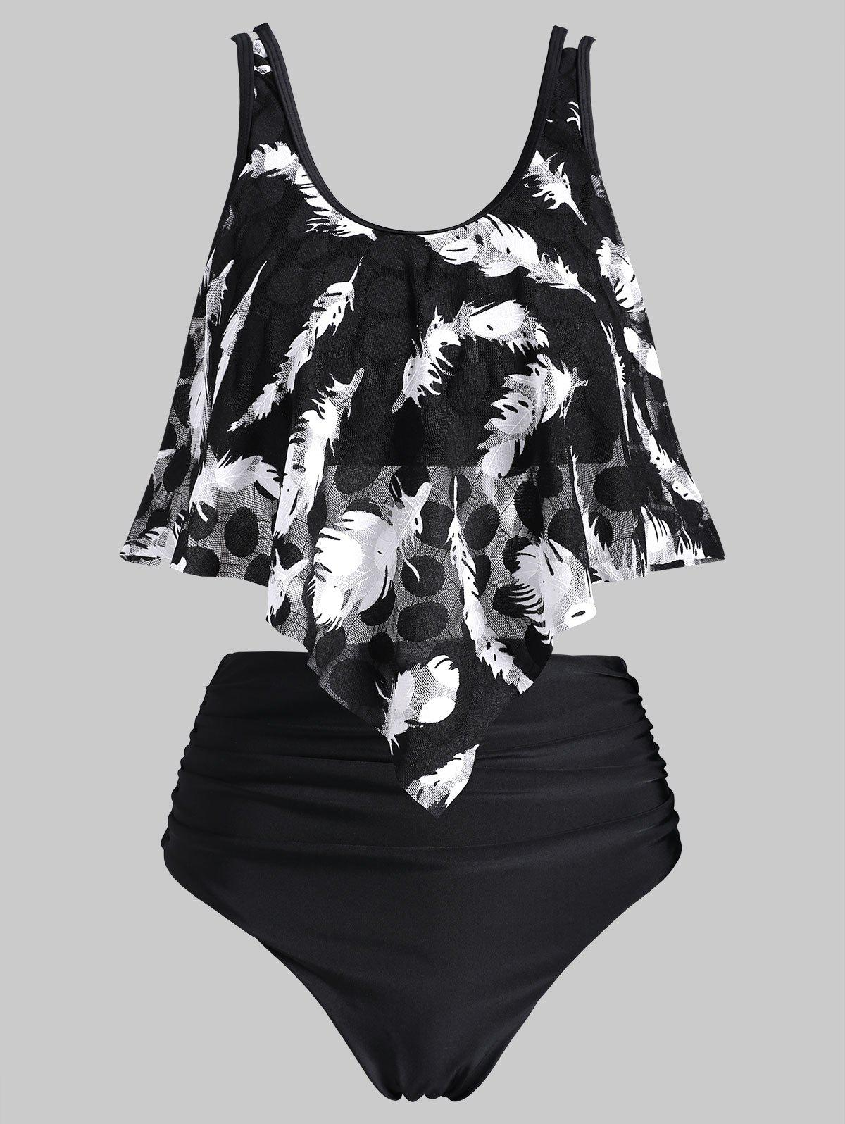 Ruched Feather Mesh Overlay Tankini Swimsuit - BLACK M