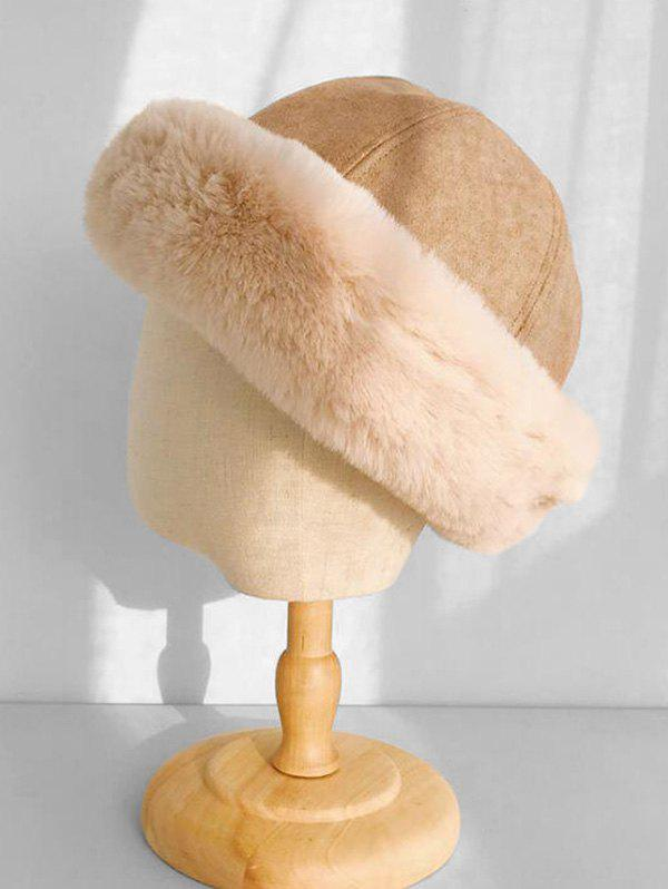 Faux Fur Winter Thick Bucket Hat - KHAKI