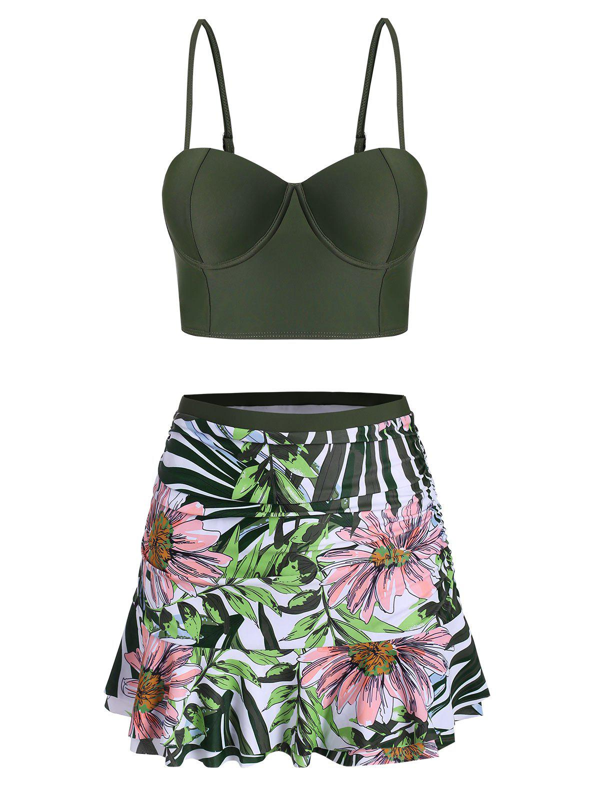 Floral Leaf Push Up Ruched Skirted Tankini Swimsuit - FERN GREEN 2XL