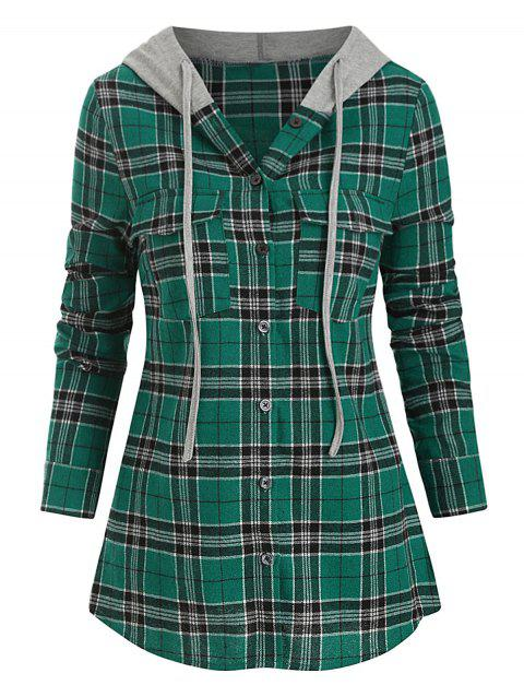Hooded Plaid Print Double Pocket Shirt