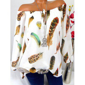 Off The Shoulder Feather Print Blouse