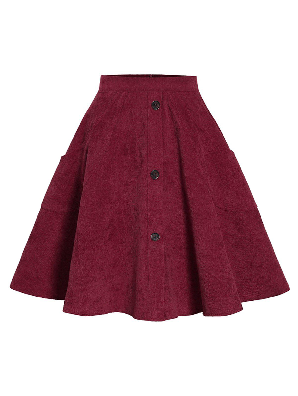Corduroy Mock Button Pocket Skirt - RED WINE XL