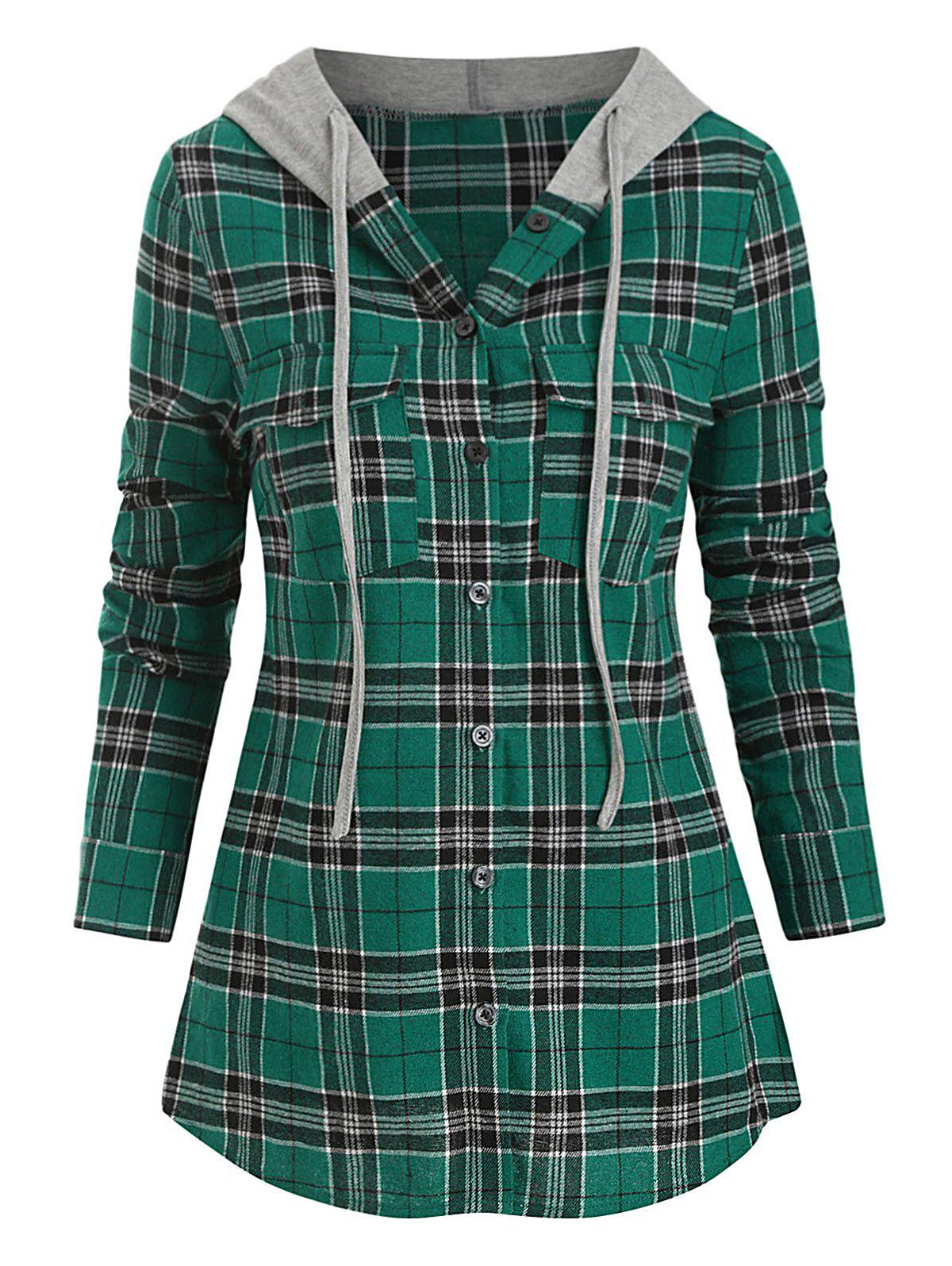 Hooded Plaid Imprimer Double Pocket Shirt - Vert Mer 2XL