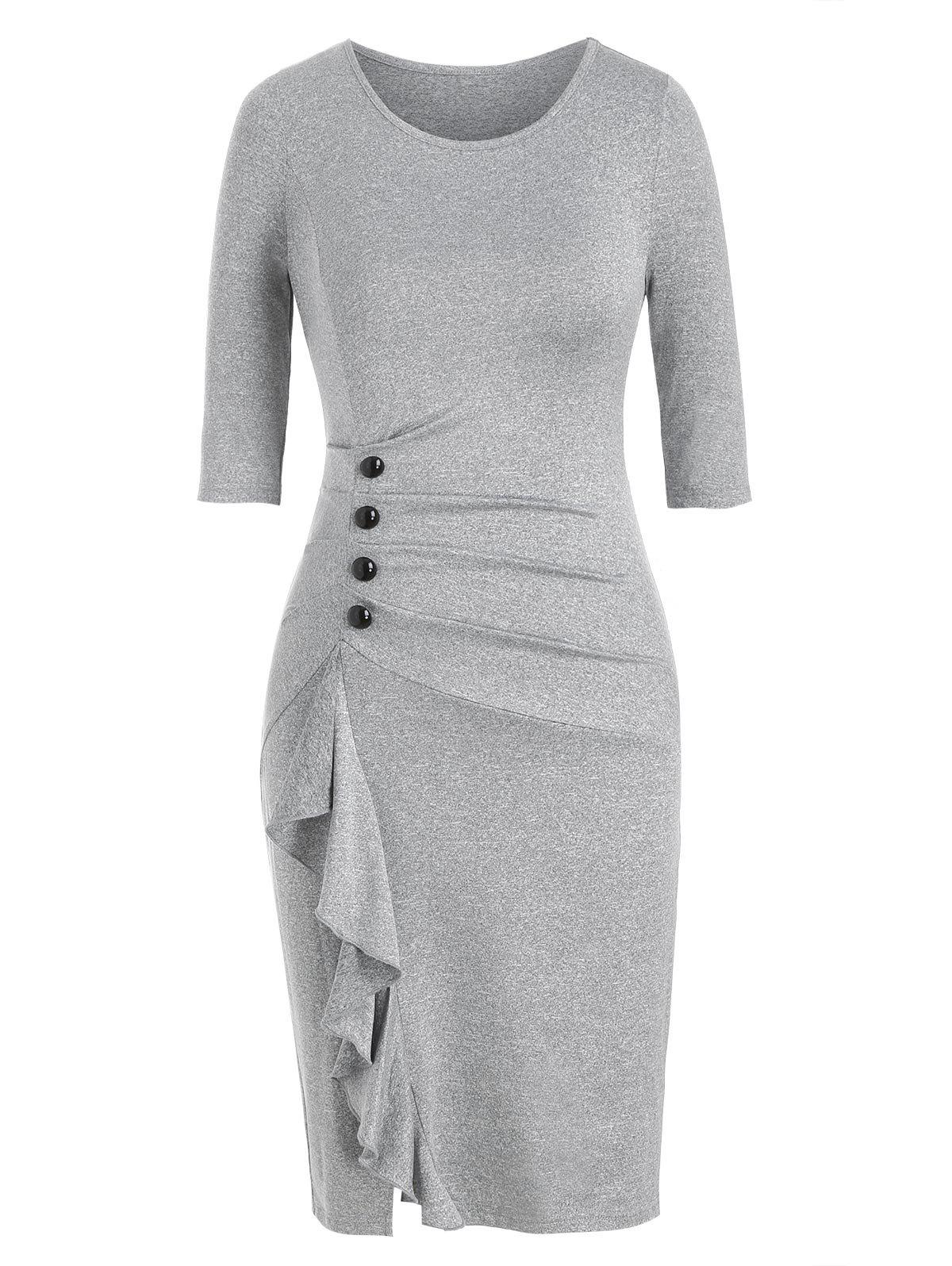 Button Ruched Marled Sheath Dress - LIGHT GRAY XL