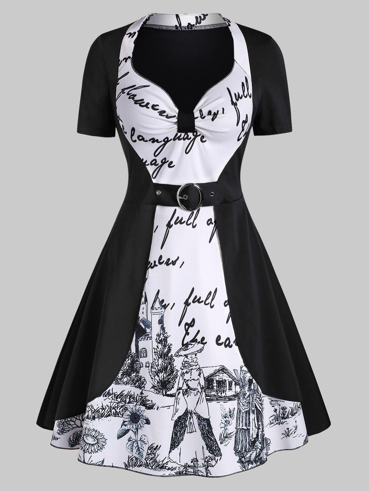 Castle Letter Graphic Knotted Buckle Dress - BLACK M