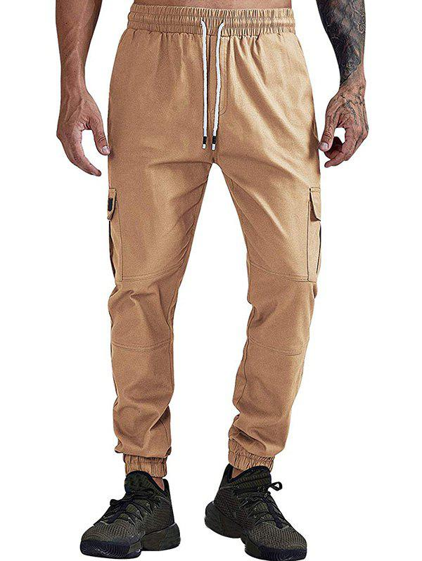 Solid Color Pocket Casual Jogger Pants - CAMEL BROWN L