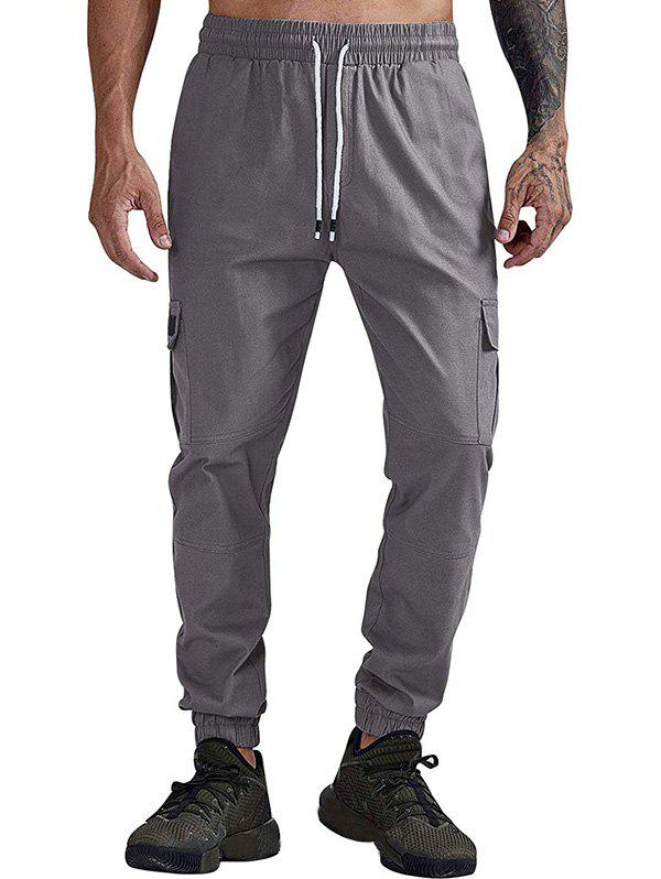 Solid Color Pocket Casual Jogger Pants - GRAY S
