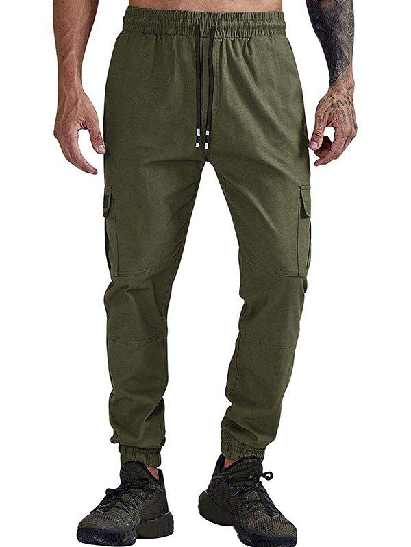 Solid Color Pocket Pantalon Jogger Casual - Vert Armée L
