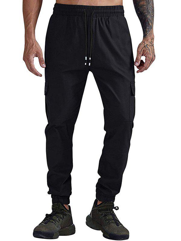 Solid Color Pocket Casual Jogger Pants - BLACK L