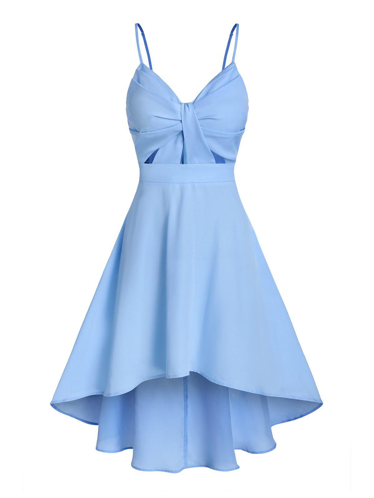 Solid Front Knot Cami Dip Hem Dress - SKY BLUE M