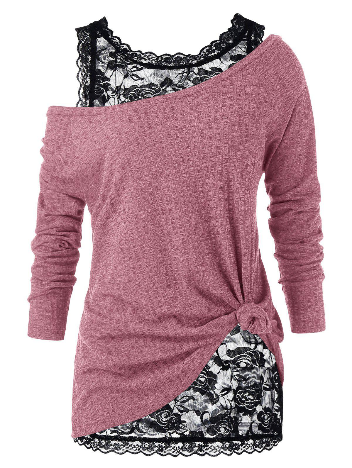 Plus Size Skew Neck Sweater with Floral Lace Top - PIG PINK 3X