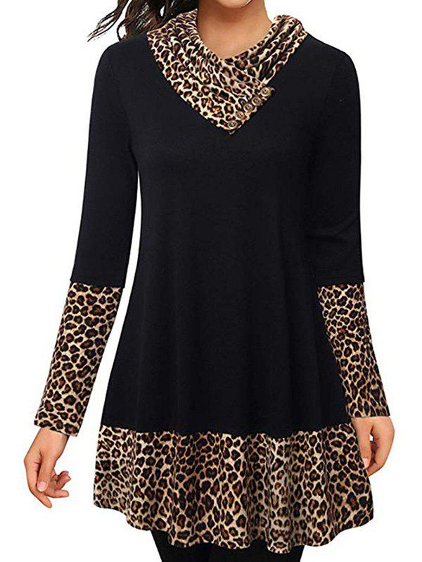 Cowl Neck Leopard Tunic Top - BLACK M