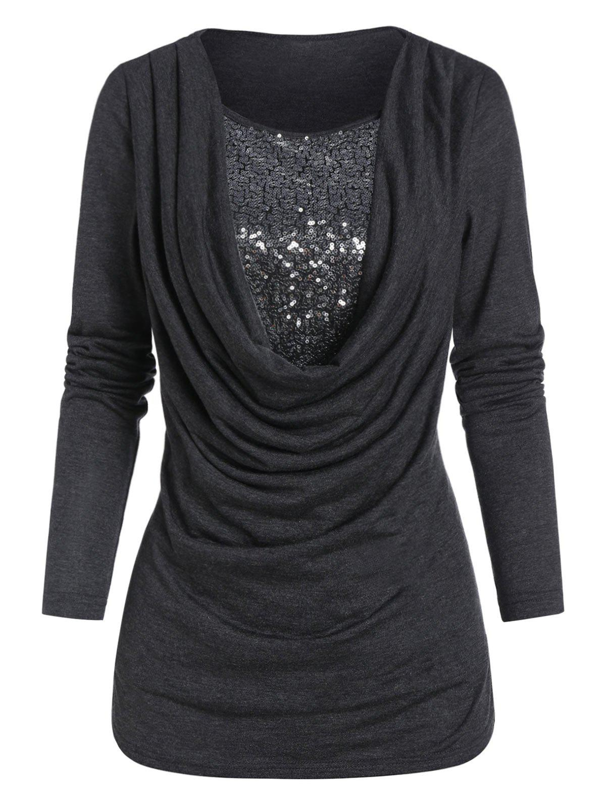 Drape Front Sequin Insert Long Sleeve T Shirt - CARBON GRAY L
