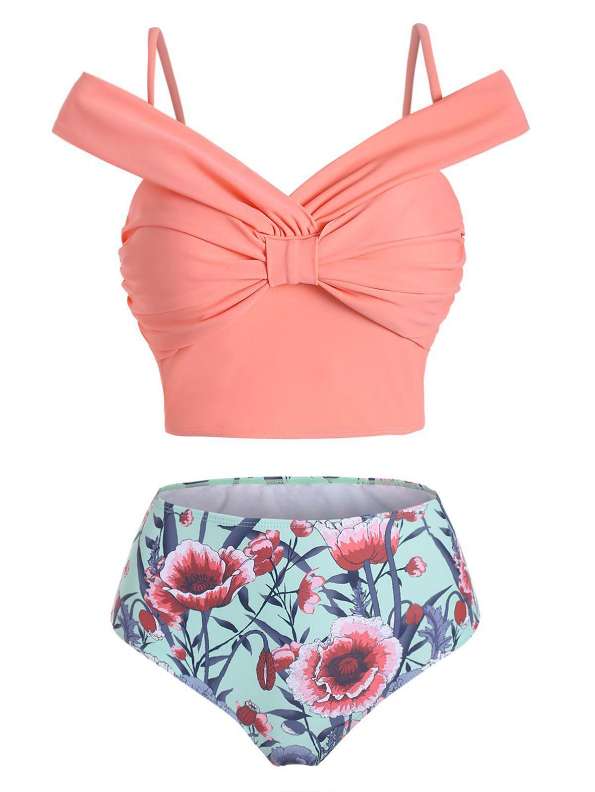 Flower Knotted Cami High Waisted Two Pieces Swimwear - ROSE 3XL