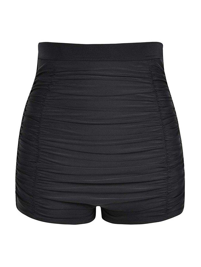 Ruched Plus Size Swim Shorts - BLACK L