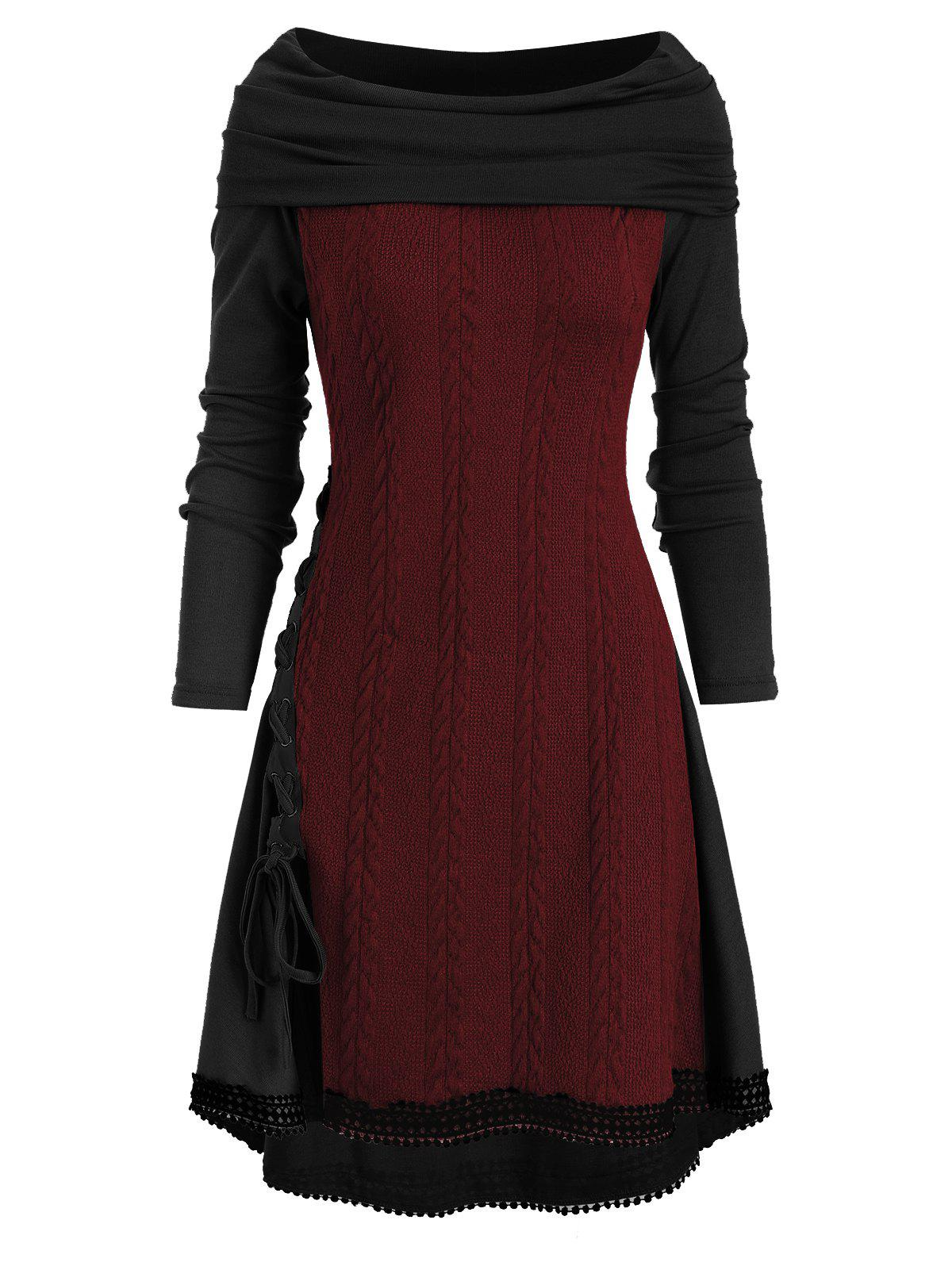 Cowl Neck Lace Up Guipure Panel Longline Knitwear - RED WINE XL