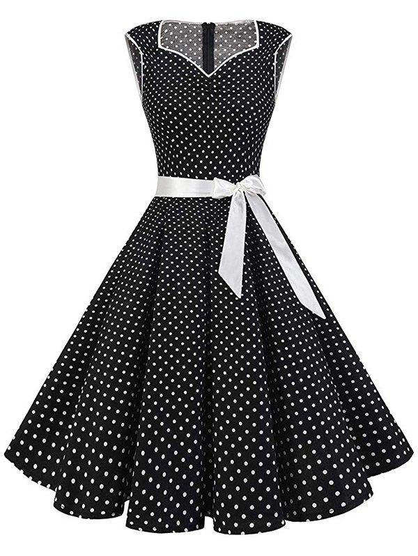 Polka Dot Belted Sleeveless Vintage Dress - BLACK L