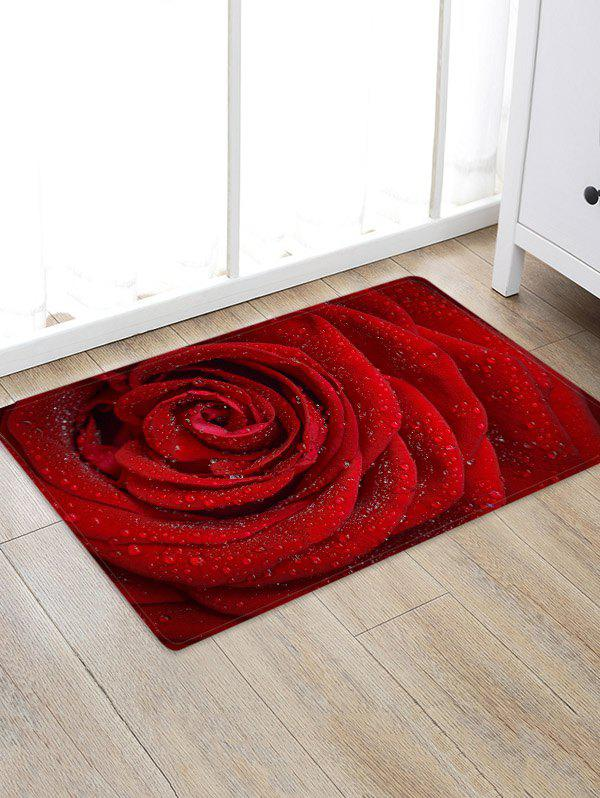 Valentine Rose Flower Pattern Water Absorption Area Rug - multicolor W24 X L35.5 INCH