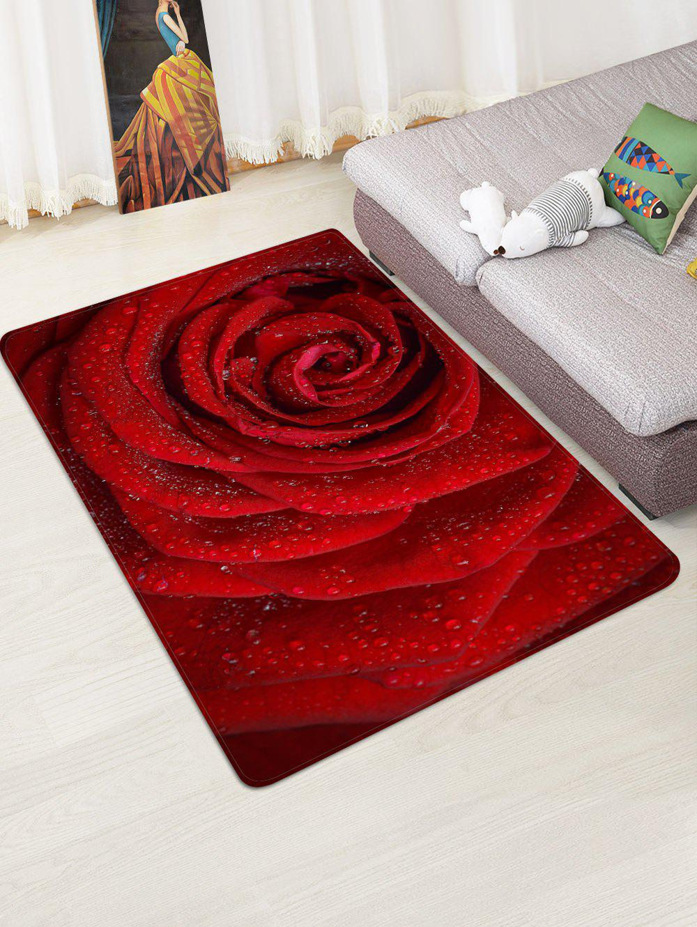 Valentine Rose Flower Pattern Water Absorption Area Rug - multicolor W47 X L63 INCH