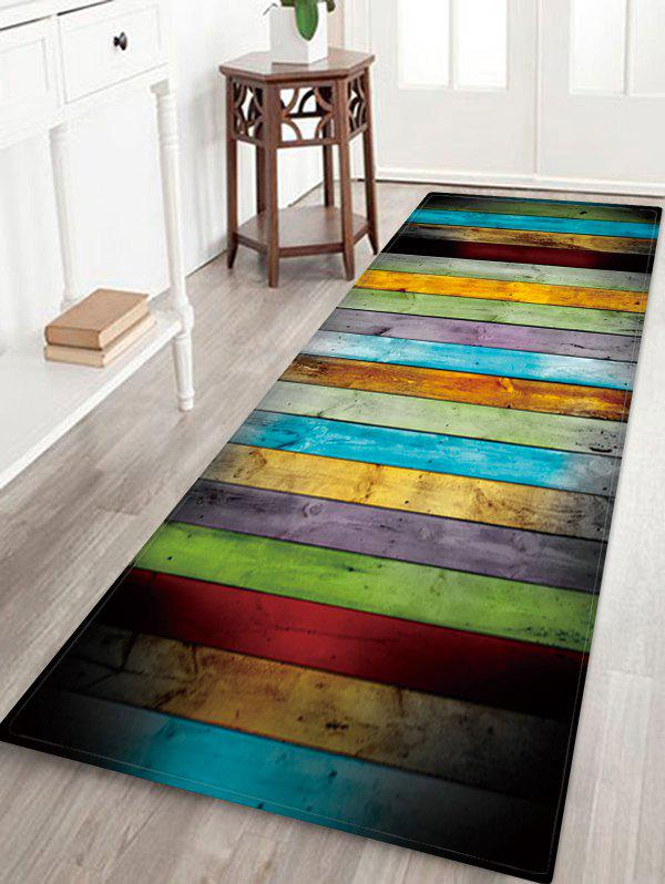 Colorful Wood Pattern Water Absorption Area Rug - multicolor W24 X L71 INCH