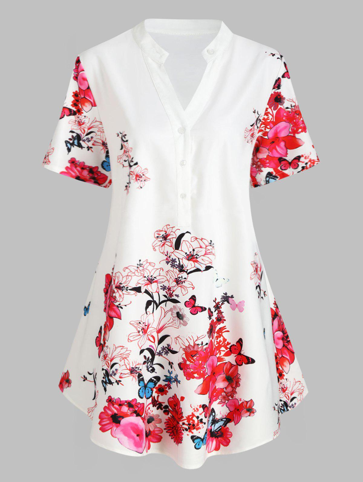 Plus Size Floral Print Swing Henley Blouse - WHITE 5X