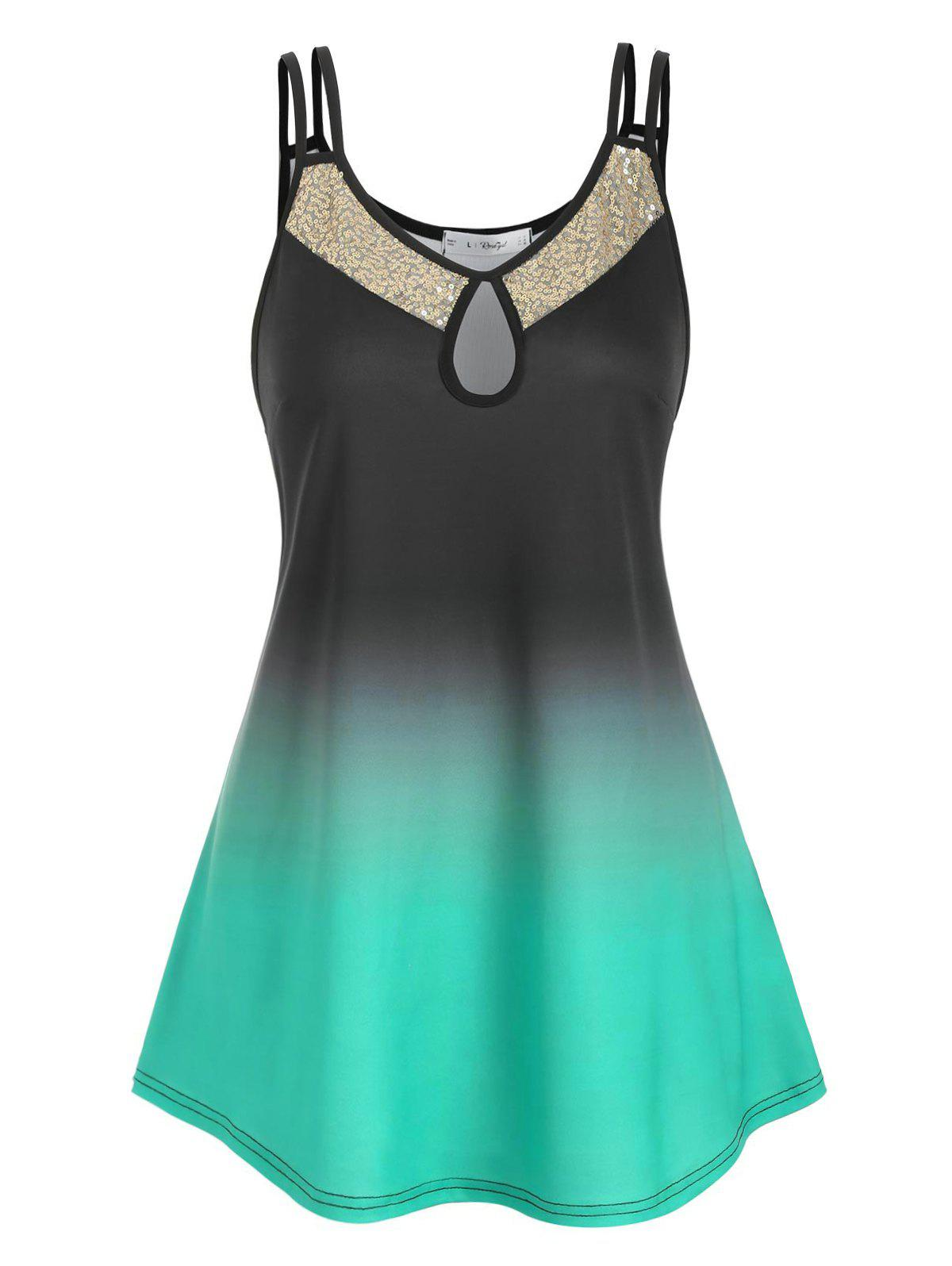 Plus Size Keyhole Sequin Ombre Color Tank Top - SEA TURTLE GREEN L