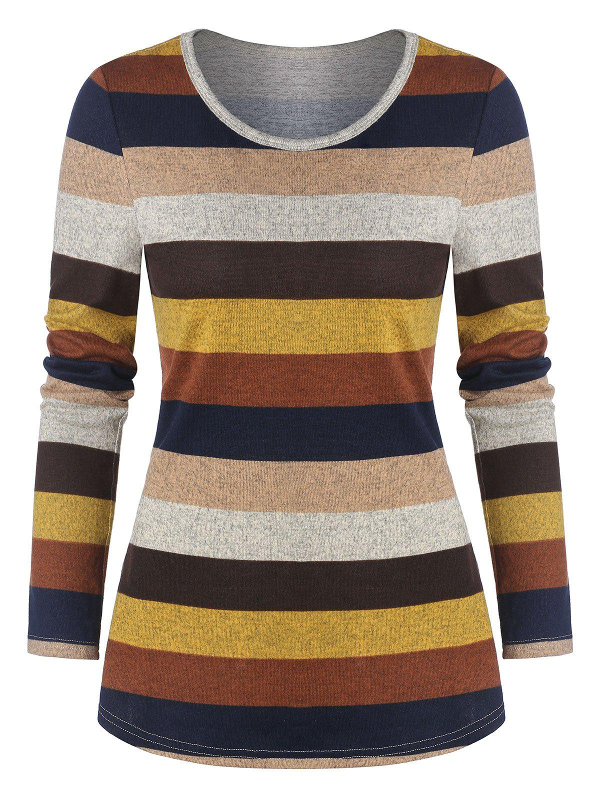 Colorful Striped Print Long Sleeve T-shirt - multicolor A 2XL