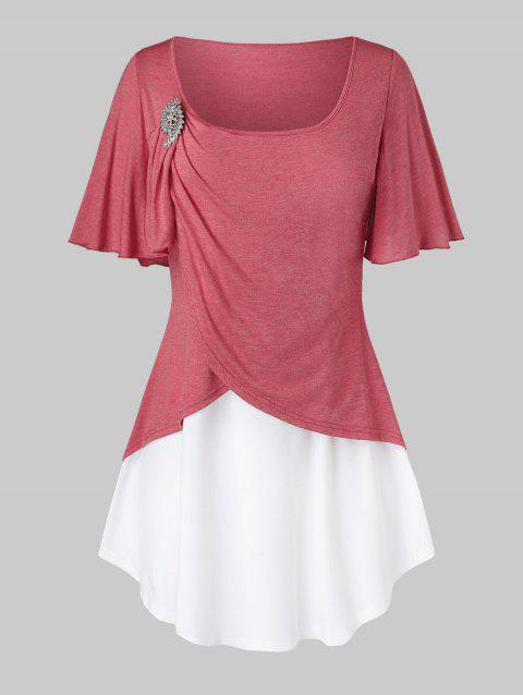 Plus Size Colorblock Ruched Flutter Sleeve T Shirt